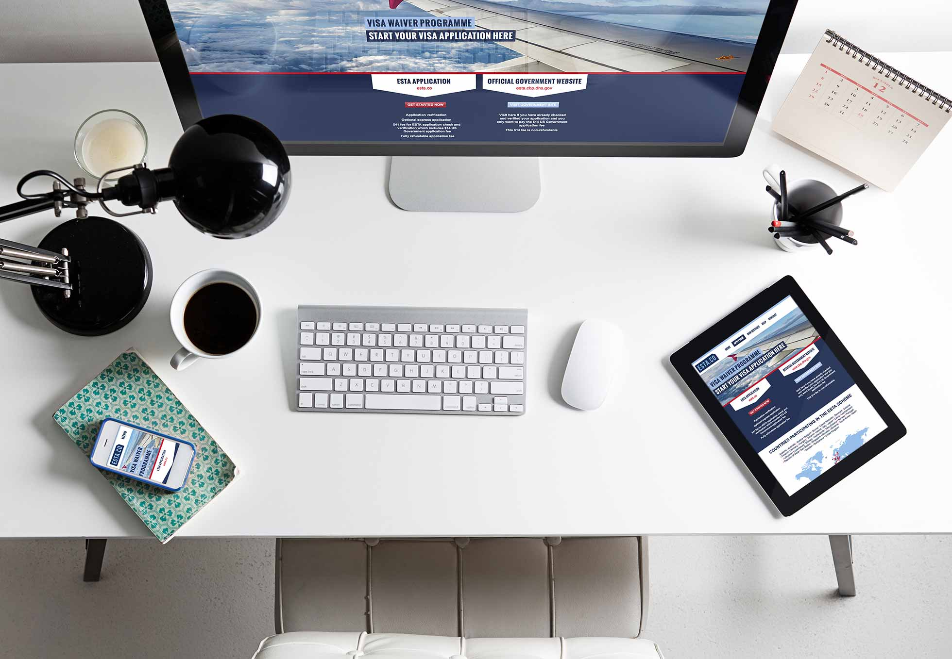 ESTA responsive website of three screens