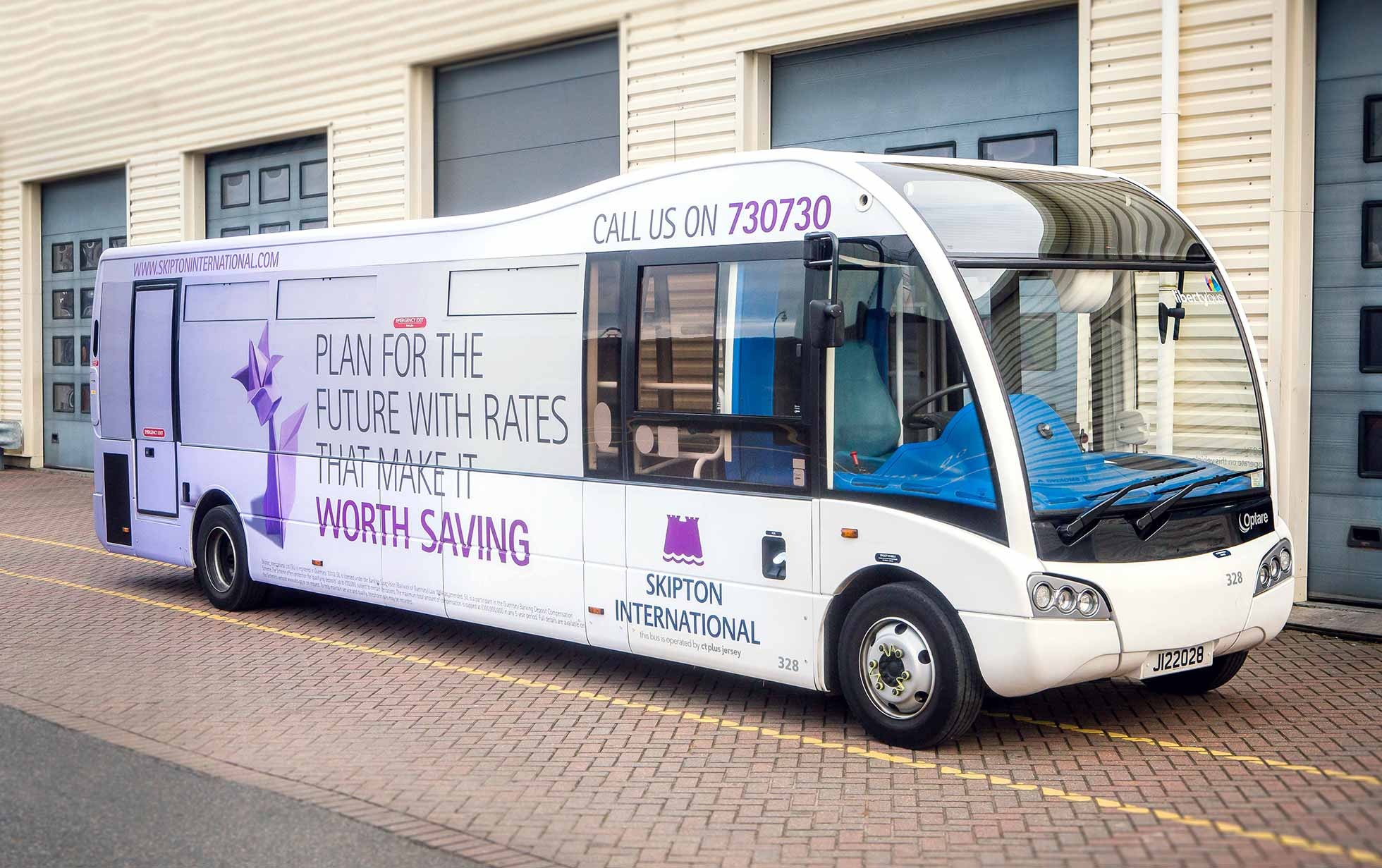Branded bus wrap for Skipton